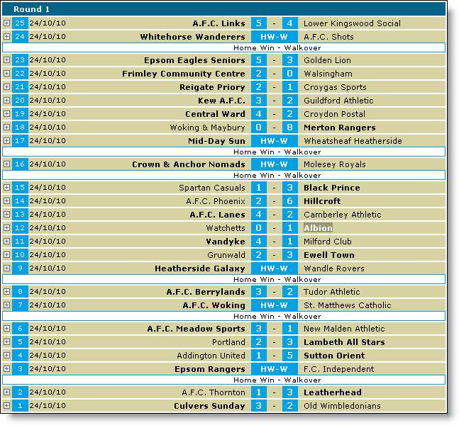Surrey Cup Round 1